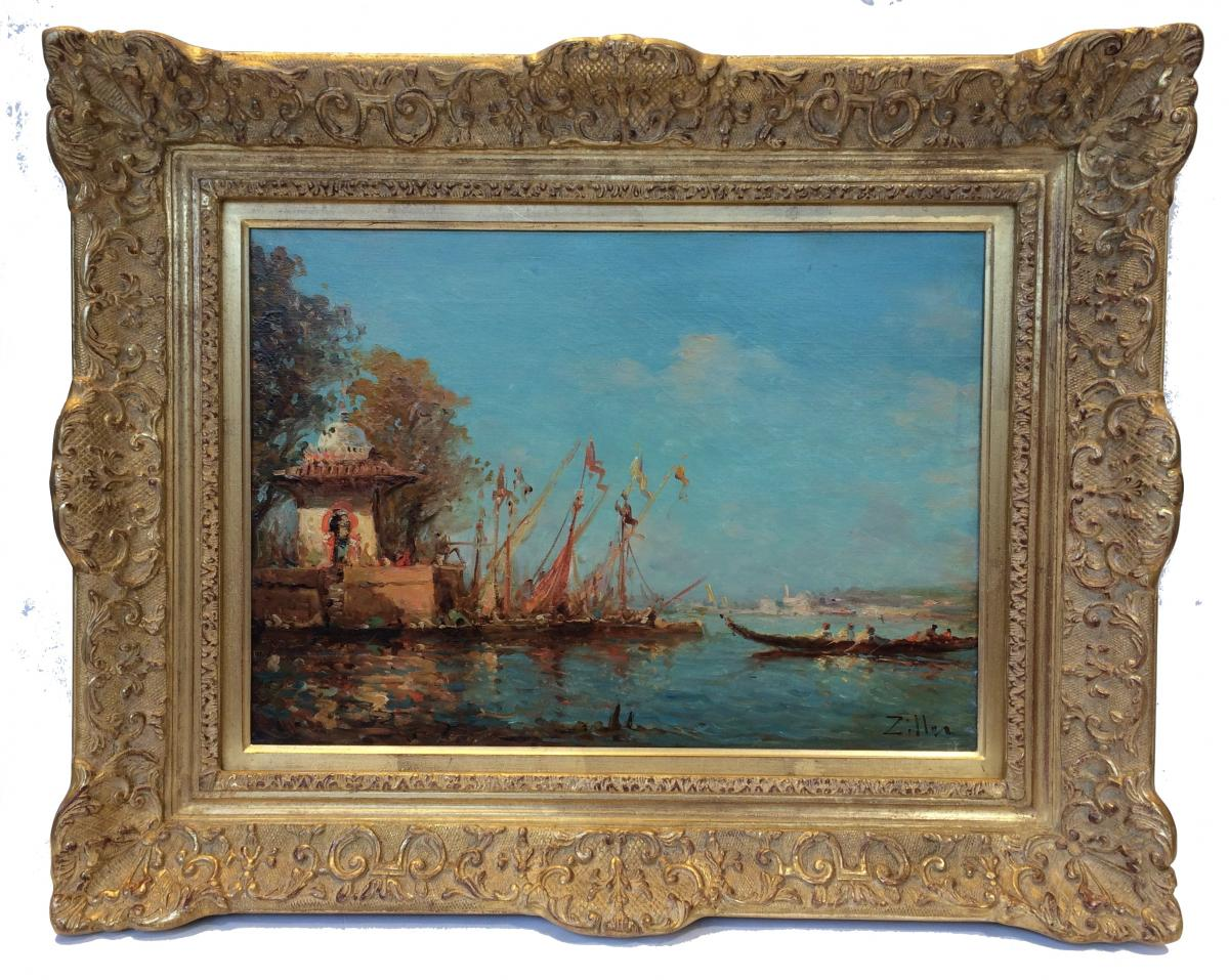 Leopold Ziller Views Of Venice And Istanbul In Pair - 19th Century Paintings-photo-3