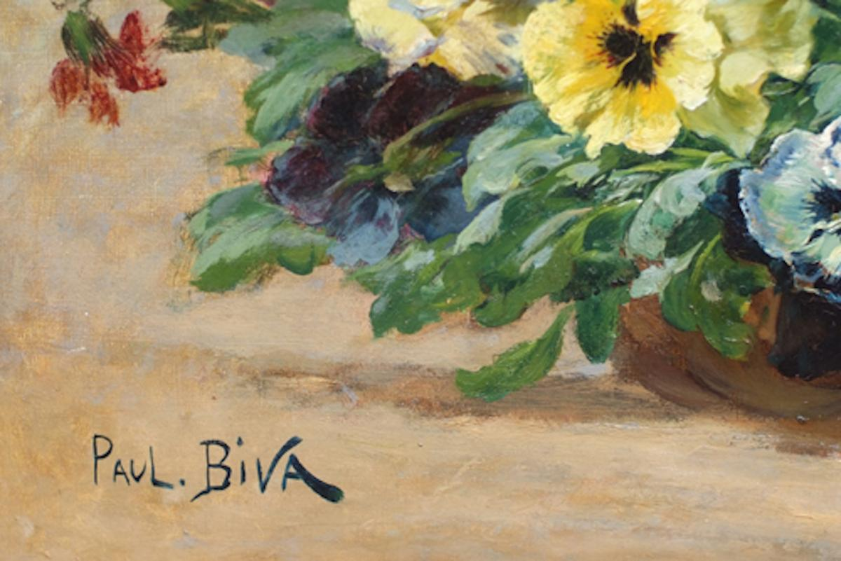Basket Of Pansies Flowers - Painting 19th Century-photo-2