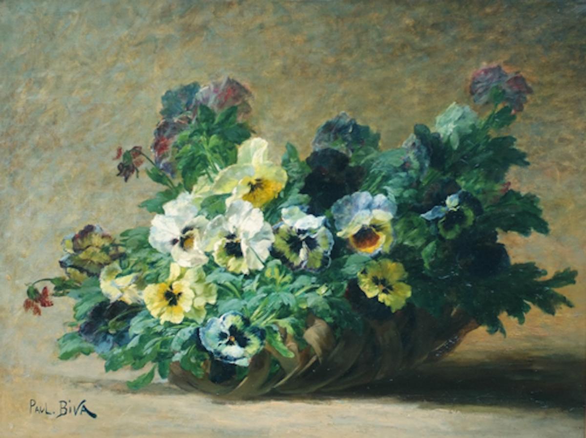 Basket Of Pansies Flowers - Painting 19th Century-photo-3