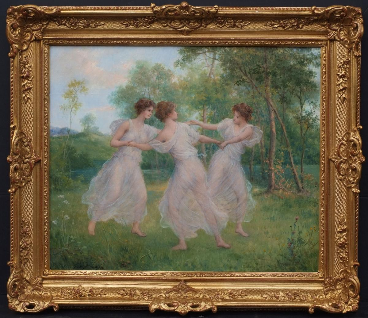 The Spring Of Nymphs - Painting 19th Century