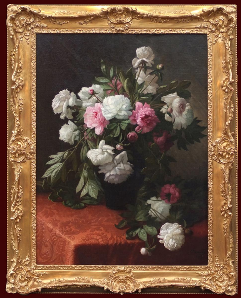 Big Painting Of Flowers 19th Century