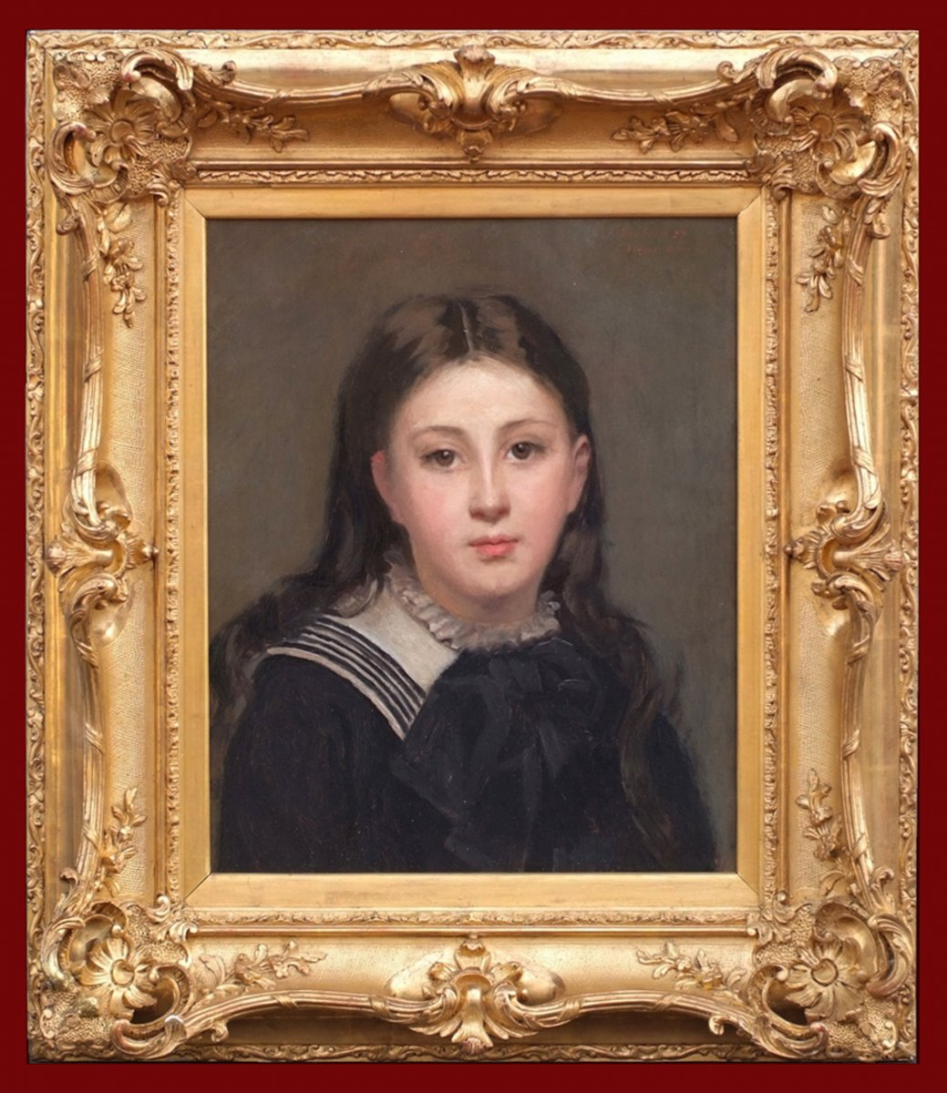 Blanc-garin Ernest Painting 19th Century Portrait Of Young Lady Circa 1880