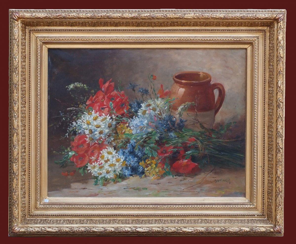 Edmond Van Coppenolle (1846 - 1914)  Still Life Daisies And Poppies