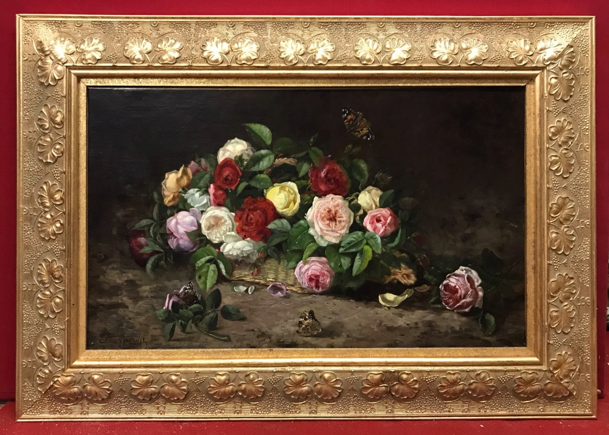 Elisa-antoinette Georget - Still Life Flowers And Butterfly - Painting 19th Century Circa 1895
