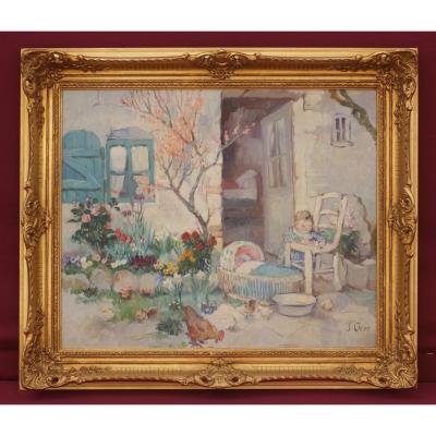 Carro Yvonne (c.1895-1946) scène de genre au jardin