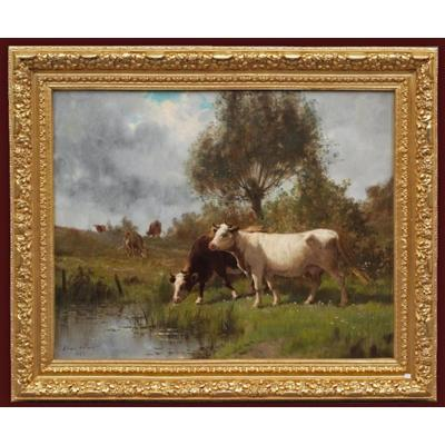 Clair Charles Cows On Pasture By The River , Painting 19th Century, Barbizon School 1895