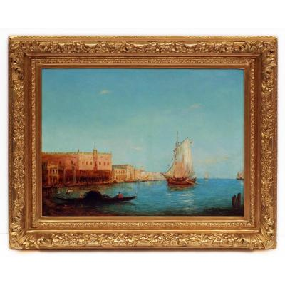 Alfred August Felix Bachman Venice The Lagoon, Painting 19th Century