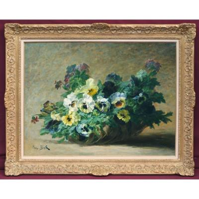 Basket Of Pansies Flowers - Painting 19th Century
