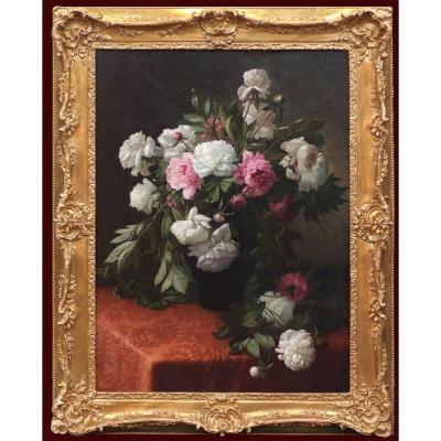 Big Painting Of Flowers 19th Century