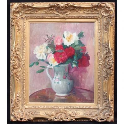 Bunch Of Flowers, Post-impressionist Painting Circa 1930