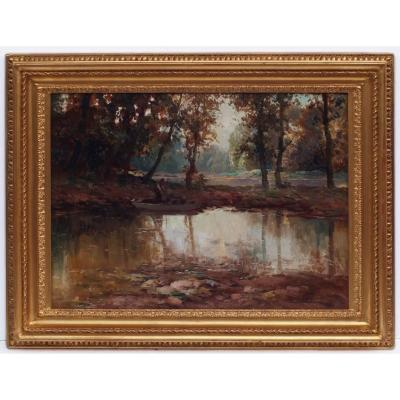 Lively Landscape With Fisherman By The River, Post Impressionist Painting