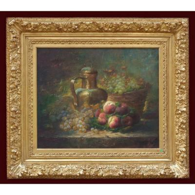 Still Life Peaches And Grappes (19th Century)