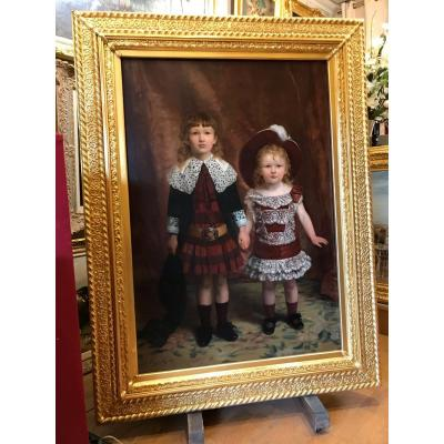 Edgard Cugnotet - Painting 19th Century - Portrait Of Two Children 1884