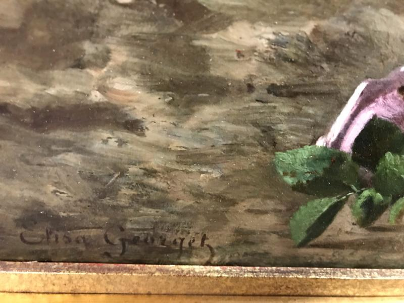 Elisa-antoinette Georget - Still Life Flowers And Butterfly - Painting 19th Century Circa 1895-photo-4