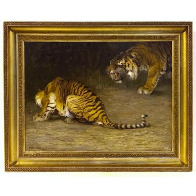 Painting 19th Century - Tigers  - Illegible Signature