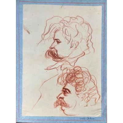 Portrait Caricaturé De Carrier-belleuse (1824-1887)