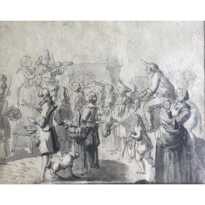 18th Century French School - Street Musicians