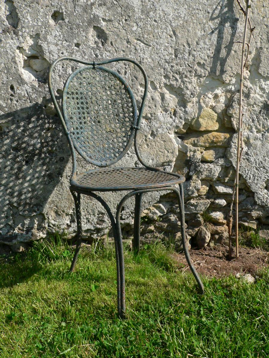 Chaise de jardin ancienne xixe en fer forg cannage for Chaise en fer forge