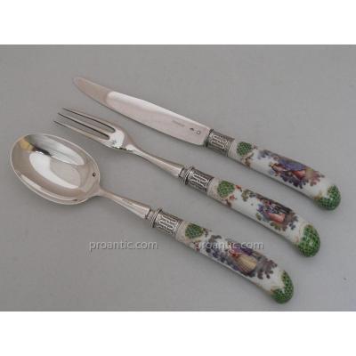 couvert couteau XIXe argent et porcelaine dans le gout de Watteau