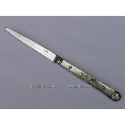 Couteau démontable 18e Couvert De Voyage Nacre Argent Massif