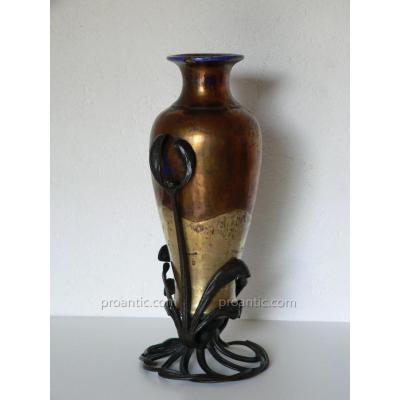 Vase Art Nouveau Faïence Irisée Fer Forgé Emile Robert nancy