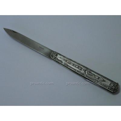Grand Couteau Pliant XIX Argent Massif à Décor Renaissance