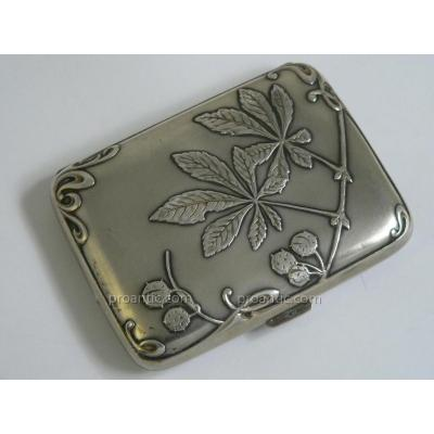 A Cigarette Box Case / Card Template Sterling Silver Art Nouveau Charles Murat