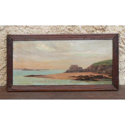 Peinture Sur Panneau XIX Baie De St Malo, marine H Arondel