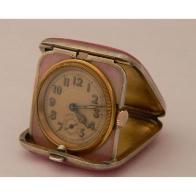 Mechanical Travel Watch In Sterling Silver, Enamelled Vermeil Circa 1900