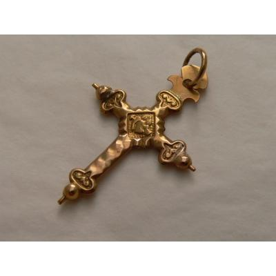 Pendant XIX Cross Jeannette In 18ct Gold Restoration Period
