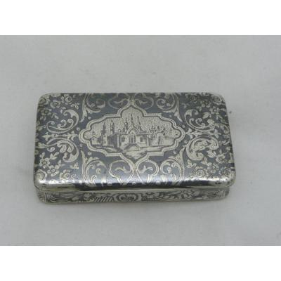 Snuff Box In Sterling Silver Niellé And Vermeil Russian Landscape Nineteenth Century