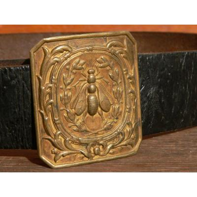 Military Belt Model 1845, Plate And Leather IIIrd Republic School Battalion