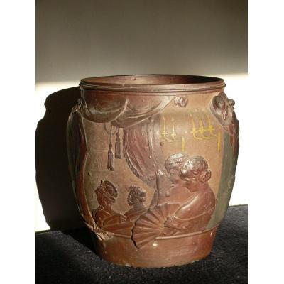 Important Cache Pot Art Nouveau, d'Ernest Chaplet Et Jean Désiré Ringel d'Illzach Pour Haviland