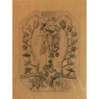 """1881 Frontispice """"Catéchisme des gens mariés"""" de Félicien ROPS, érotisme."""