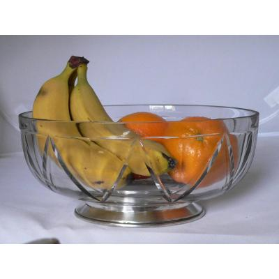 Fruit Bowl Centerpiece Oval Cut Crystal Art Deco, Shower Foot In Sterling Silver