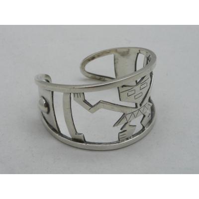Important Bracelet By The Artist Graziella Laffi In Solid Silver Circa 1970