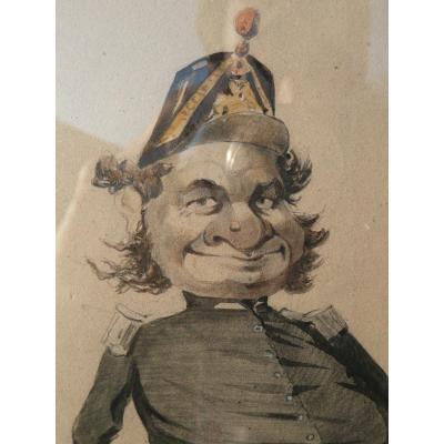 Dessin Caricature Au Crayon Militaire De La Troisième République, XIXe Siècle