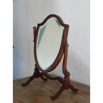 Miroir Psychée  De Table XIXe En Acajou , Glace Biseauté Au Mercure, les boutons en bronze