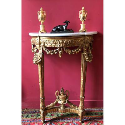 Small Console In Golden Wood, Louis XVI Period
