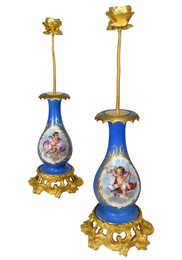 Pair Of Vases Porcelain And Bronze Candleholder XIXème