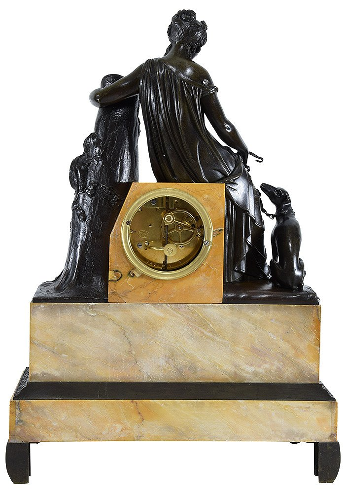 """Clock Bronze Patinated And Marble """"diane The Huntress""""-photo-2"""