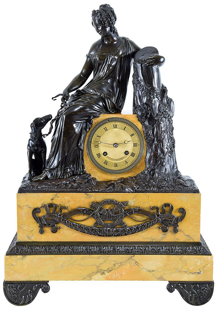 """Clock Bronze Patinated And Marble """"diane The Huntress"""""""