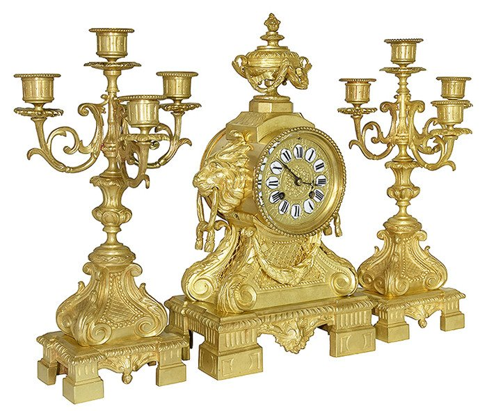 "Clock And Candlestick ""lion Head"" In Gilt Bronze Néo-classique XIXème"