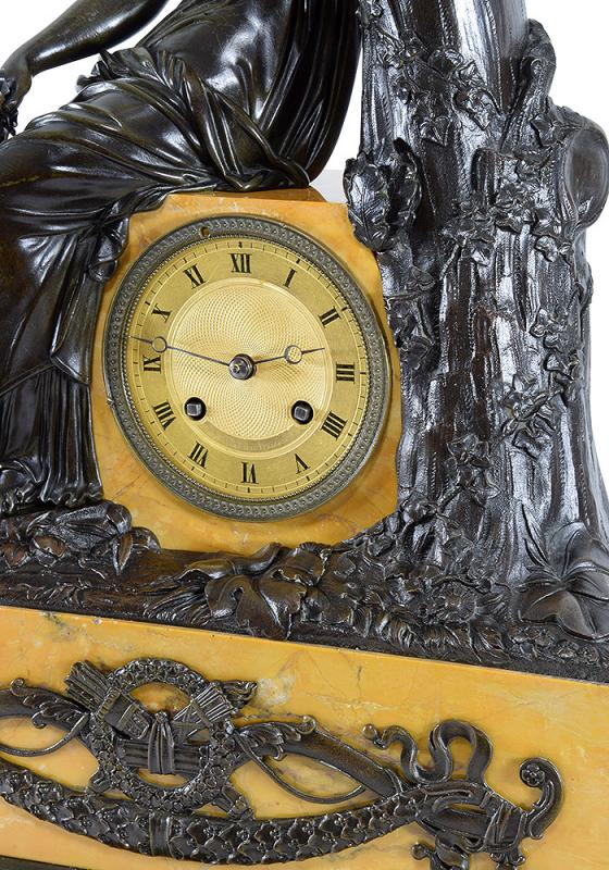 """Clock Bronze Patinated And Marble """"diane The Huntress""""-photo-3"""