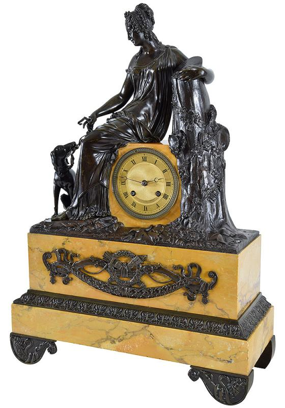 """Clock Bronze Patinated And Marble """"diane The Huntress""""-photo-4"""