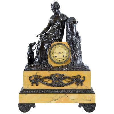 "Clock Bronze Patinated And Marble ""diane The Huntress"""