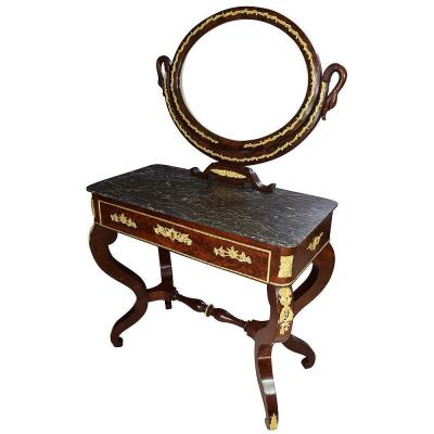 Cabinet With Mirror In Mahogany Restauration 1830