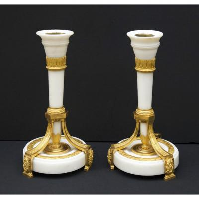 Candlesticks Pair - Louis XVI Period, Circa 1780 - Model By Jean-charles Delafosse