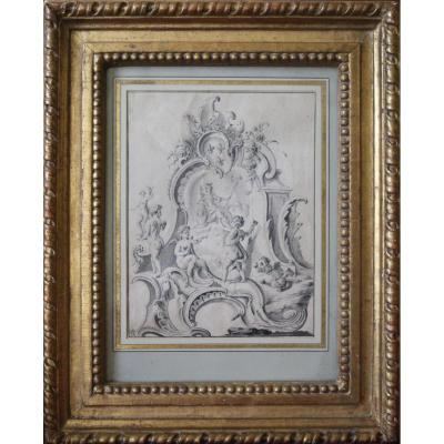 Projet De Fontaine par Jacques De La Joüe - Epoque Louis XV