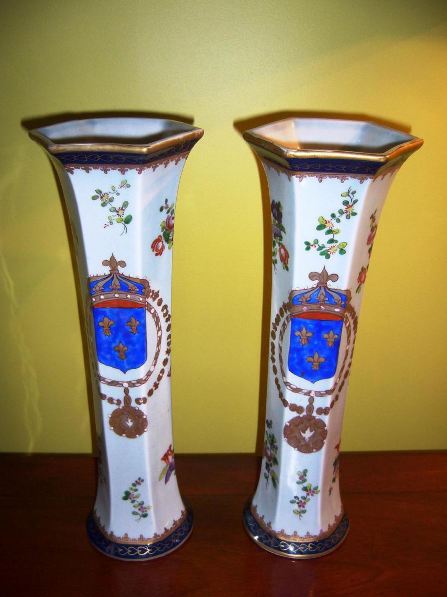 Paire de vases cornet en porcelaine XIXe - Samson